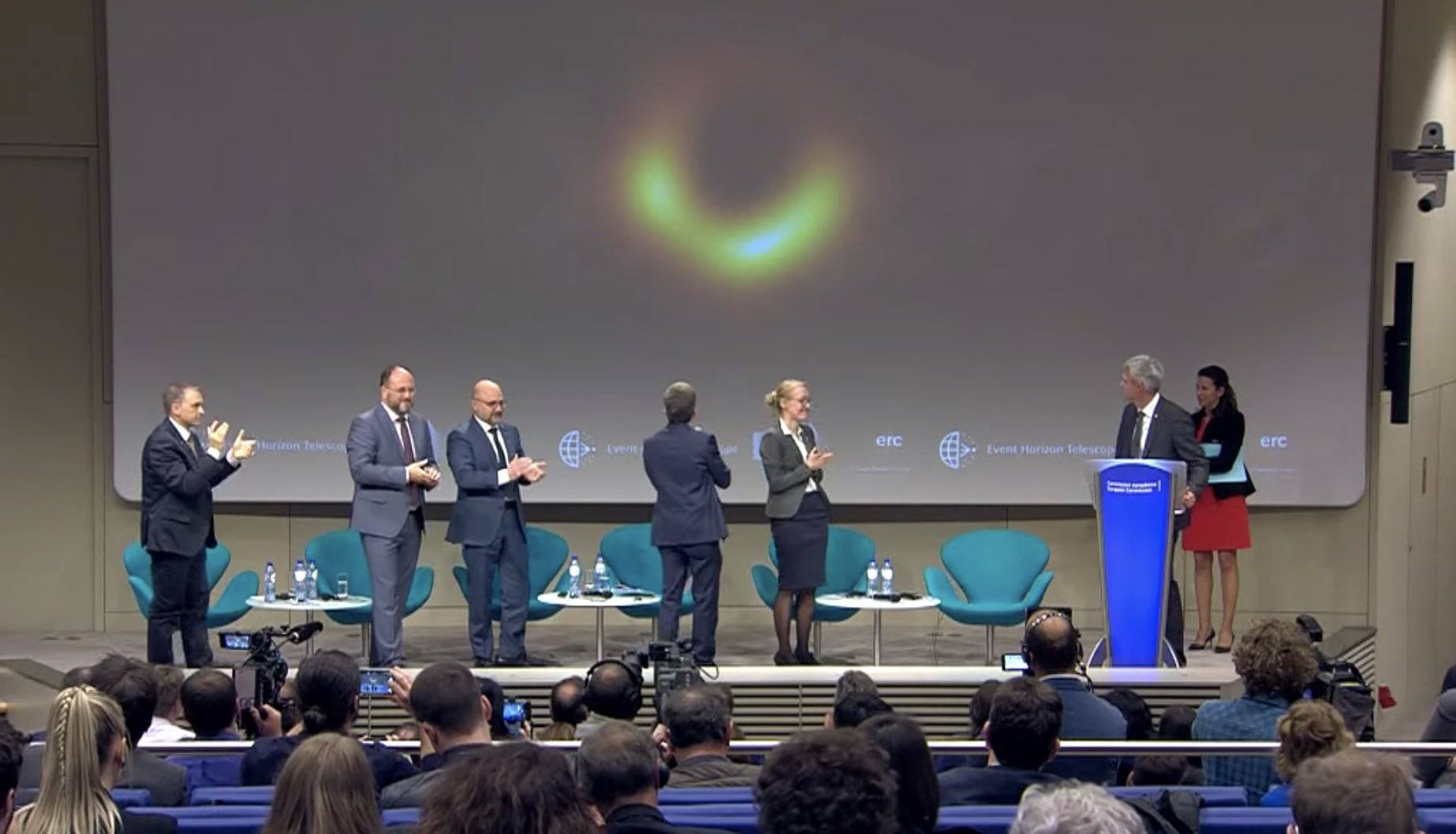 first black hole image unveiling